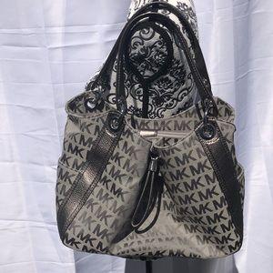Michael Kors Silver Monogram Canvas & Leather Bag